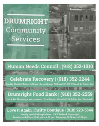 Drumright Community Service Postcard